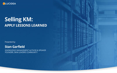 Selling KM: Apply Lessons Learned
